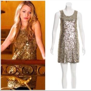COMING SOON Tory Burch Gold Sequin Mini Dress S